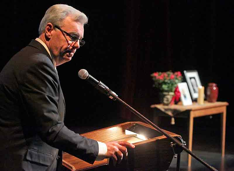 Premier Greg Selinger speaks during a memorial service for Errol Black at the Western Manitoba Centennial Auditorium on Thursday. Black died on Saturday at the age of 73 after a lengthy battle with Lou Gehrig's disease.