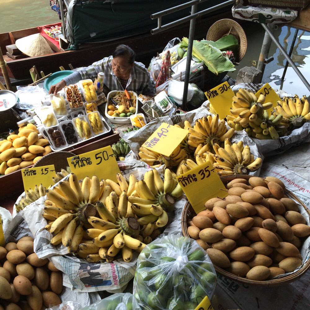 Bananas and other fresh fruits are on offer at a floating market north of Bangkok. Managers at the Elephants World sanctuary encourage visitors to bring bunches of bananas for the elephants as it's one of their favourite snacks. (Colin Corneau/Brandon Sun)