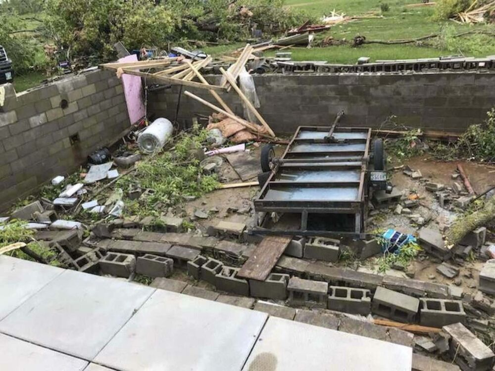 The basement remnants of the Cabak family cabin are all that&rsquo;s left of it following the level four tornado that touched down in Alonsa, Man. Friday. (Supplied)<br> -