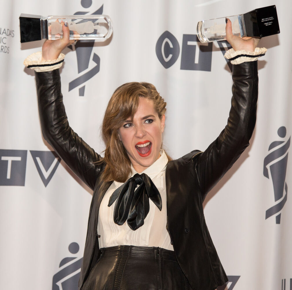 Serena Ryder with her two JUNOs, Songwriter of the Year and Artist of the Year, at the 2014 Juno Awards. (Crystal Schick)
