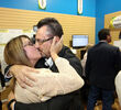 Rick Chrest celebrates with his wife Karen after defeating incumbent candidate Shari Decter Hirst to win Brandon's mayoral race on Wednesday evening.