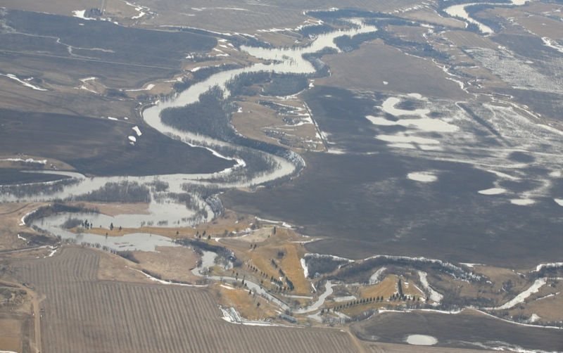 Aerial view of the Souris River by the Souris Golf Course south of the town of Souris, Man., on April 21, 2011. (Bruce Bumstead/Brandon Sun)