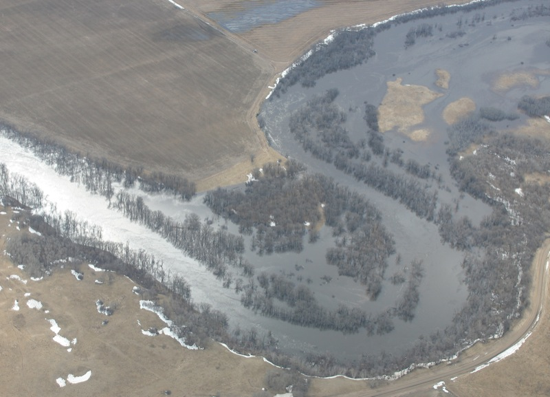 Aerial view of the Souris River west of the town of Souris, Man., on April 21, 2011.