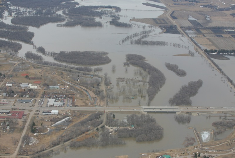 Aerial view of the David Thompson Bridge on 18th Street in Brandon, Man., on Thursday, Apr. 21, 2011.
