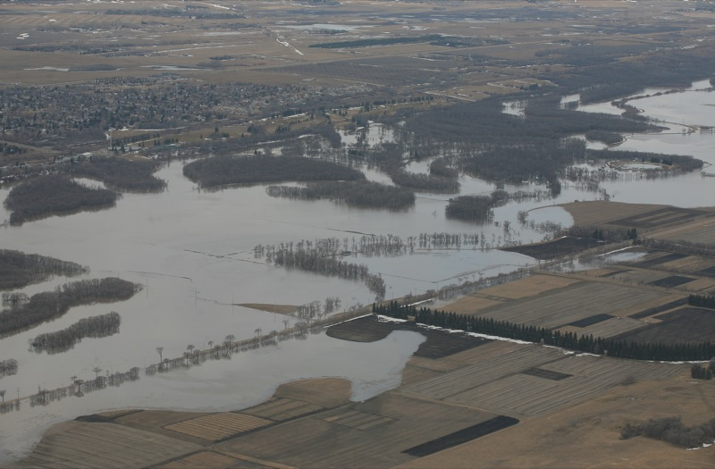 The Assiniboine River along Grand Valley Road in Brandon, Man., on Thursday, Apr. 21, 2011.