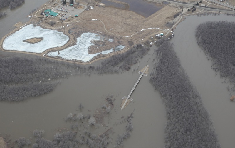Aerial view of the Assiniboine River in Brandon, Man., on Thursday, Apr. 21, 2011.