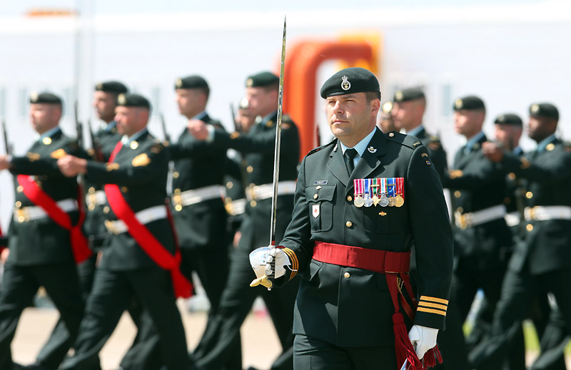 Incoming commanding officer Lt.-Col. Mike Wright leads the 2nd Battalion, Princess Patricia's Canadian Light Infantry on the parade square after taking over command from Lt.-Col. Shane Schreiber during Thursday's change of command ceremony at CFB Shilo.