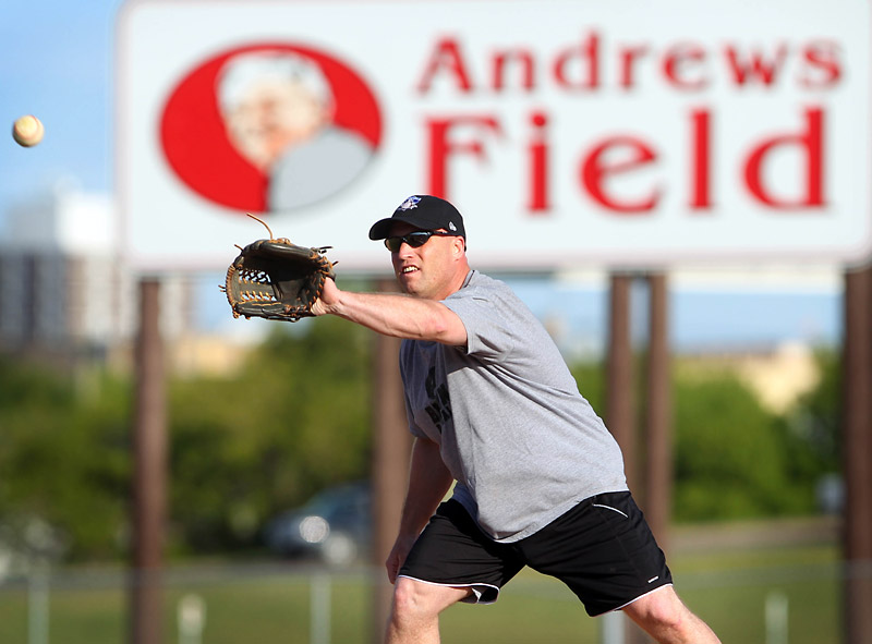 Dean McBride makes a catch at Andrews Field earlier this month. The field is up for Canada's favourite in an online vote.