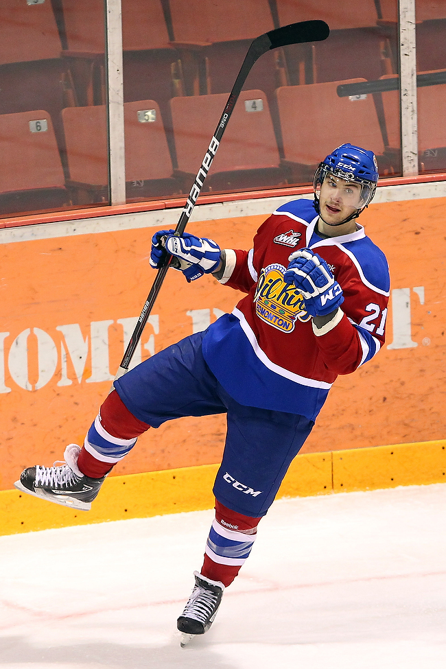 Travis Ewanyk #21 of the Edmonton Oil Kings celebrates a goal during the first period of game four of their WHL playoff series against the Brandon Wheat Kings at Westman Place.