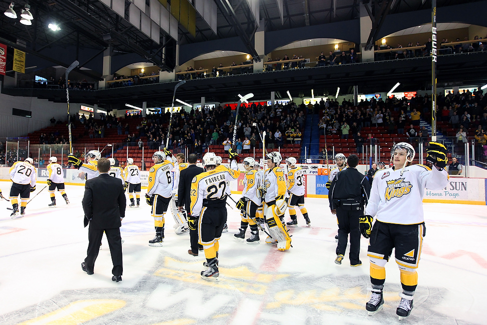 The Brandon Wheat Kings salute the crowd at the end of a 6-0 loss to the Edmonton Oil Kings in game four of their WHL playoff series at Westman Place.
