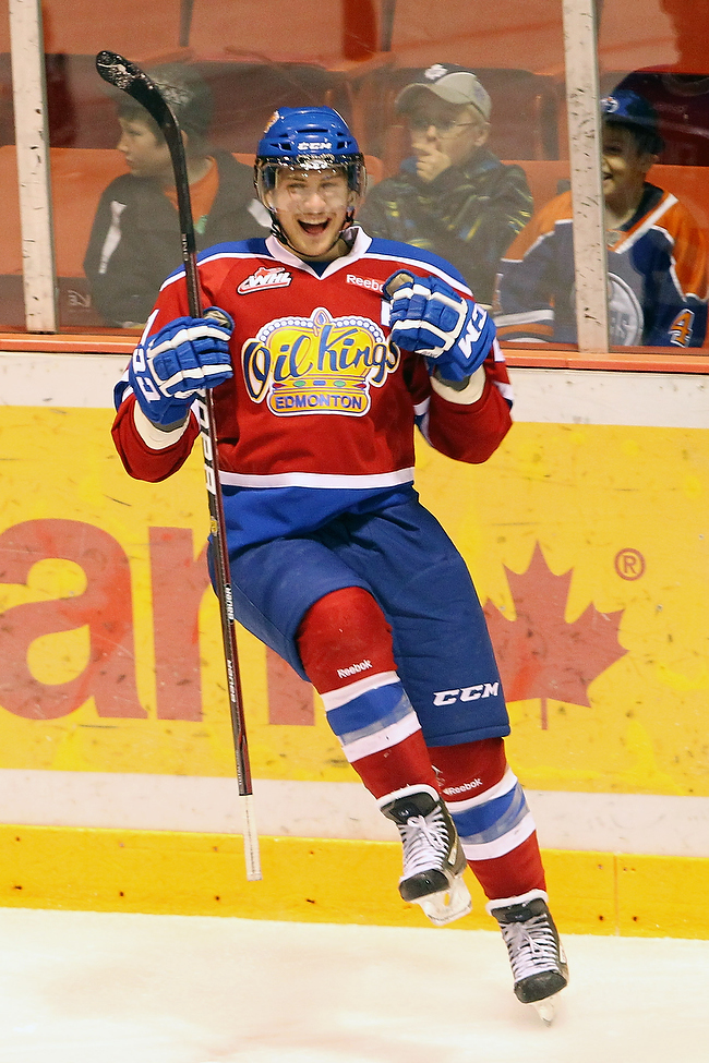 Travis Ewanyk #21of the Edmonton Oil Kings celebrates a goal during the second period of game three of the Oil Kings WHL playoff series against the Brandon Wheat Kings. (Tim Smith/Brandon Sun)