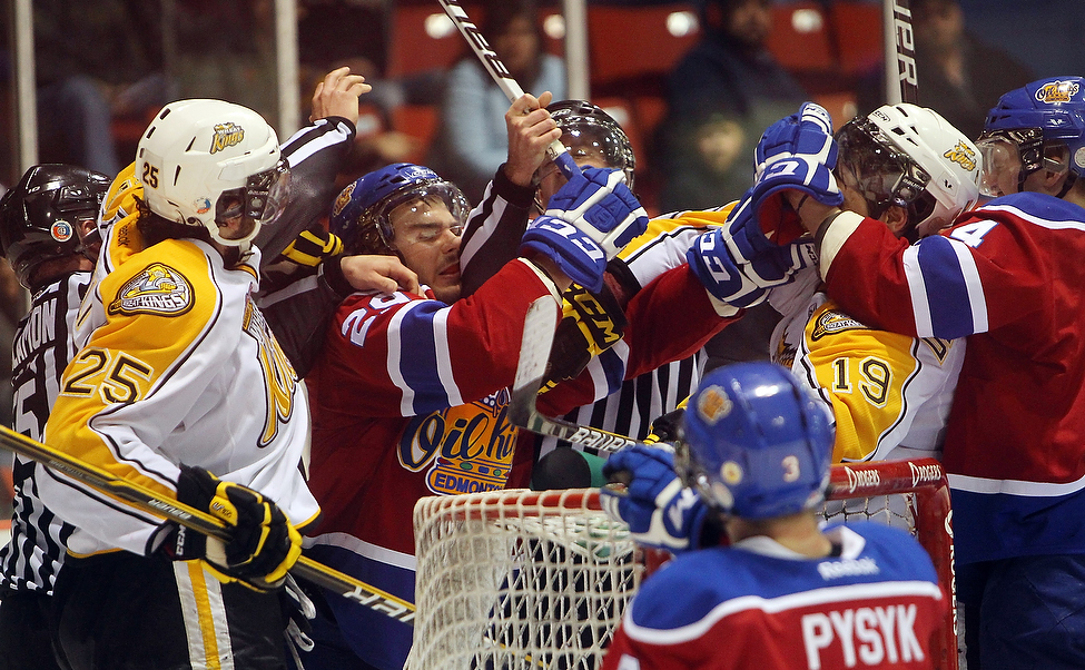 Tensions between the Brandon Wheat Kings and the Edmonton Oil Kings rise during the third period of game three of their WHL playoff series.