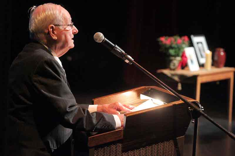 Former Brandon East NDP MLA and fellow economics professor Len Evans speaks during a memorial service to Errol Black at the Western Manitoba Centennial Auditorium on Thursday.