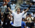 Andy Murray, of the United Kingdom, reacts after beating Adrian Mannarino, of France, during the second round of the U.S. Open tennis tournament, Thursday, Sept. 3, 2015, in New York. (AP Photo/Charles Krupa)