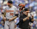 Baltimore Orioles pitching coach Dave Wallace, right, checks his glasses after meeting with starting pitcher Chris Tillman (30) and catcher Caleb Joseph during the fifth inning of a baseball game against the Kansas City Royals at Kauffman Stadium in Kansas City, Mo., Thursday, Aug. 27, 2015. (AP Photo/Orlin Wagner)