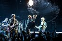 Larry Mullen Jr., from left, The Edge, Bono and Adam Clayton of U2 perform at the Innocence + Experience Tour at The Forum on Tuesday, May 26, 2015, in Inglewood, Calif. (Photo by Rich Fury/Invision/AP)
