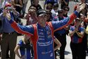 Jack Harvey, of England, celebrates after wining the Freedom 100 Indy Lights race at Indianapolis Motor Speedway in Indianapolis, Friday, May 22, 2015. (AP Photo/Darron Cummings)