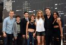 Benjamin McKenzie, from left, David Mazouz, Robin Taylor, Camren Bicondova, Erin Richards, Donal Logue, and Jada Pinkett Smith pose at the