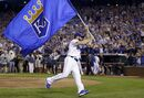 Kansas City Royals' Greg Holland celebrates after the Royals' 9-8 victory over the Oakland Athletics in 12 innings in the AL wild-card playoff baseball game Tuesday, Sept. 30, 2014, in Kansas City, Mo. (AP Photo/Jeff Roberson)