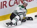 Dallas Stars' Jason Spezza lies on the ice after being boarded by Montreal Canadiens' Alexei Emelin during second period NHL hockey action, Tuesday, January 27, 2015 in Montreal. Spezza has had the day circled for a long time, but now that it's here he's not quite sure what to expect. THE CANADIAN PRESS/Paul Chiasson