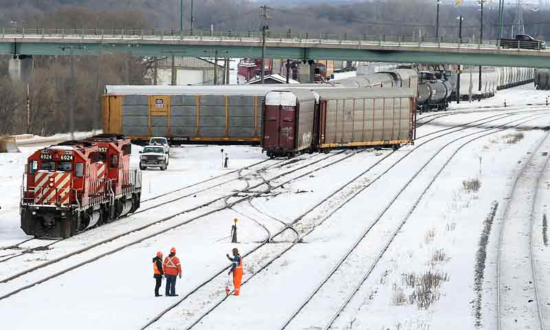 Three rail cars jumped the tracks in the Canadian Pacific Railway yards between the First Street overpass and the Eighth Street bridge on New Year's Day.