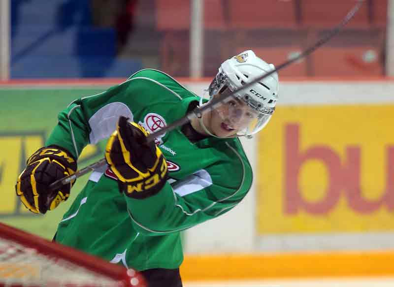 Rookie Taylor Cooper takes a shot in Brandon Wheat King practice on Friday afternoon at Westman Place.