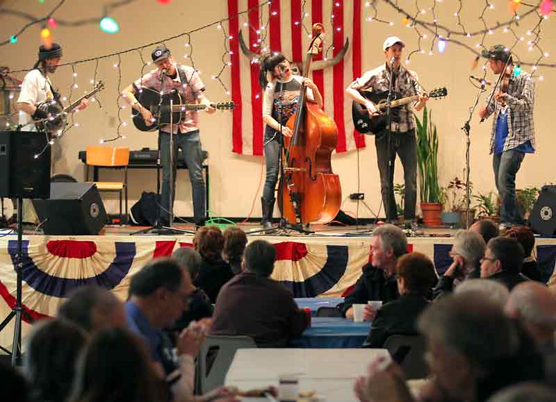 In this February 2012 photo, Winnipeg bluegrass band the Magnificent Sevens performs at the U.S.A. pavilion during the ninth annual Lieutenant Governor's Winter Festival.