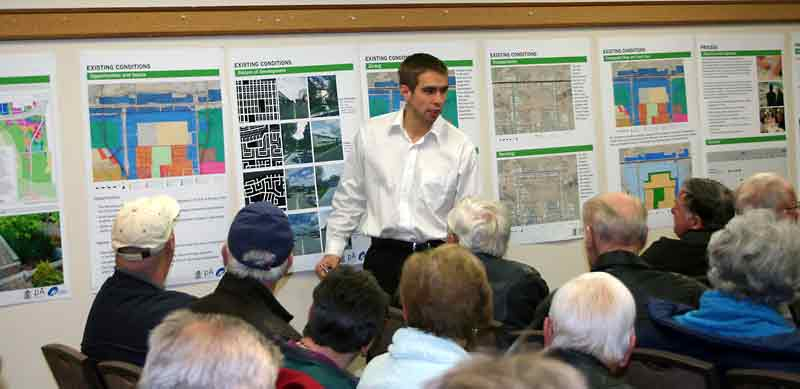 In this November photo, Ryan Nickel, the city's acting senior planner, addresses the crowd at the first public consultation on the North Brandon Gateway Secondary Plan at the Riverbank Discovery Centre.