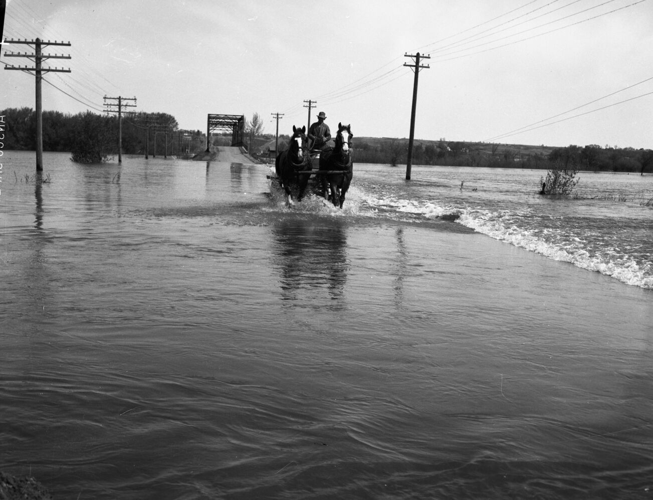 Horses can go where cars cannot, as this team crosses the flooded river just past the 18th Street bridge in 1954. (Courtesy CKX fonds, S.J. McKee Archives, Brandon University)