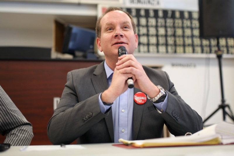 Political candidate Rolf Dinsdale of the Liberal Party speaks during the Candidates' Forum at the Brandon Friendship Centre on College Avenue on Tuesday afternoon. Conservative Party candidate Larry Maguire chose not to attend the forum.