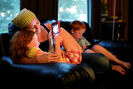 Cheryl, Emily and Colin spend a quiet Sunday evening at home, playing games and watching television.