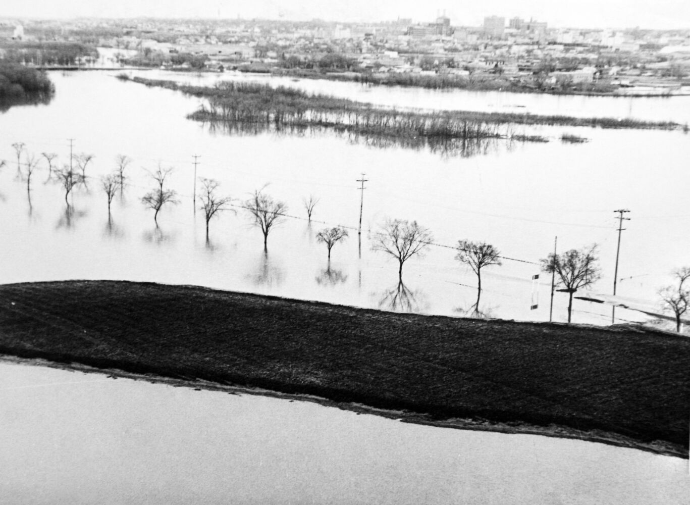 A line of trees marks the flooded-out Grand Valley Road. (Brandon Sun archives, 1976)