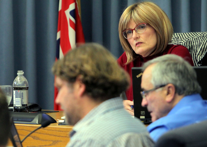 Mayor Shari Decter Hirst listens to Coun. Jeff Fawcett (Assiniboine) speak during budget deliberations last weekend at city hall.
