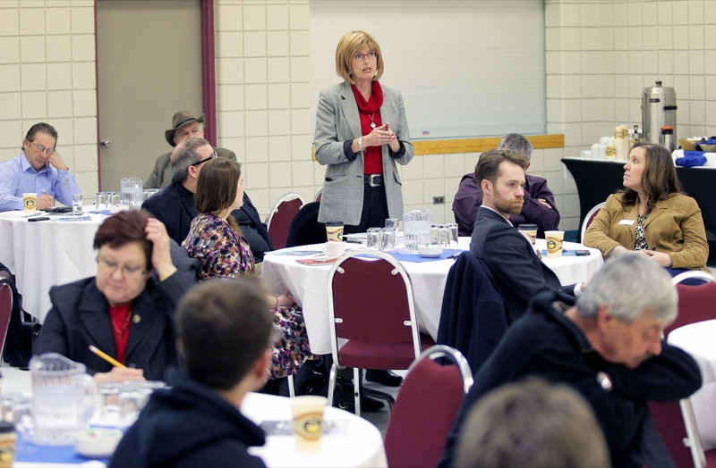 Brandon Mayor Shari Decter Hirst asks a question of Manitoba Finance Minister Jennifer Howard during Howard's post-budget meeting with Brandonites at the Keystone Centre on Friday afternoon.