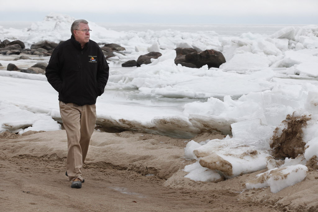 Rod Bollman, harbour master with the Victoria Beach Harbour Authority, takes a walk on the shore.