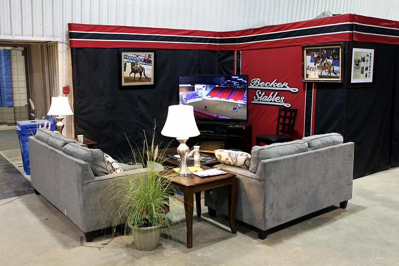 Many stables' lounge areas are decked out with furniture, greenery and other touches of home during the Canadian National Arabian & Half Arabian Championship Horse Show at the Keystone Centre.