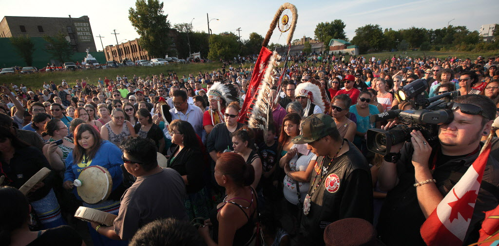 Elders, activists, citizens and family gathered for a vigil at Winnipeg's Alexander Docks in memory of Faron Hall and Tina Fontaine.  (Phil Hossack / Winnipeg Free Press)