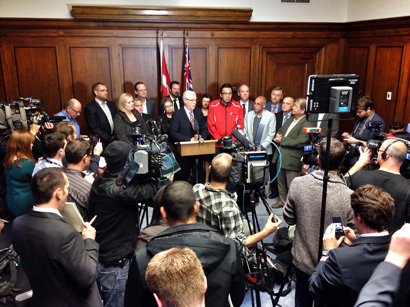 Premier Greg Selinger announced on Tuesday that he has no intention of stepping down and plans to lead the NDP into the next provincial election.
