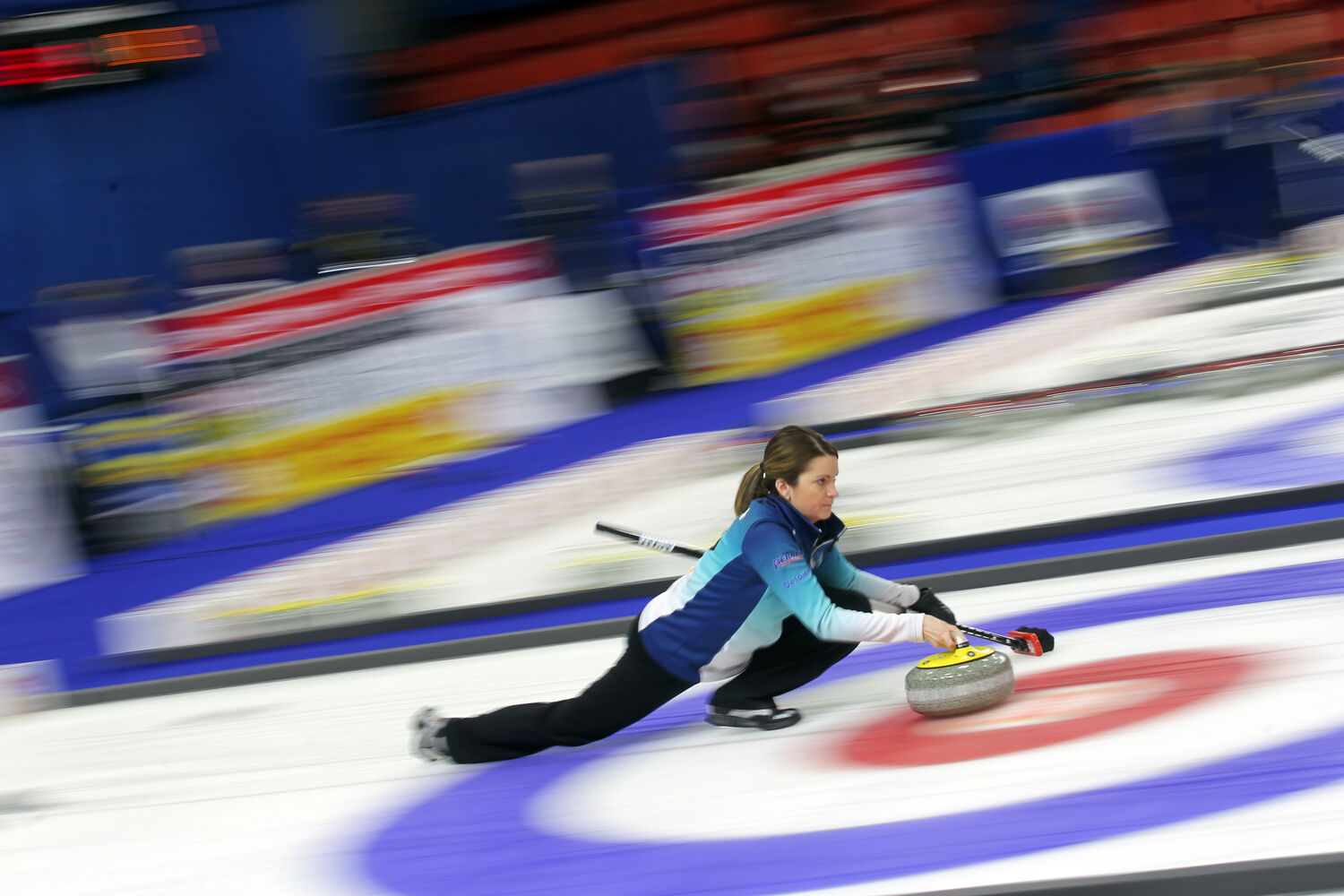 Skip Kerri Einarson delivers a rock at the Home Hardware Canada Cup of Curling at Westman Place on Thursday afternoon. (Tim Smith/Brandon Sun)