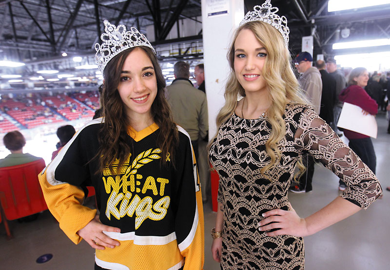 Miss Teen Shilo Dana Fraser and Miss Teen Brandon Catherine Dubois will be heading to the Miss Teenage Canada competition in Toronto in August. Both girls were on hand to support the Wheat Kings in Game 2 of the Western Hockey League Eastern Conference final series against the Calgary Hitmen at Westman Place on Saturday night.