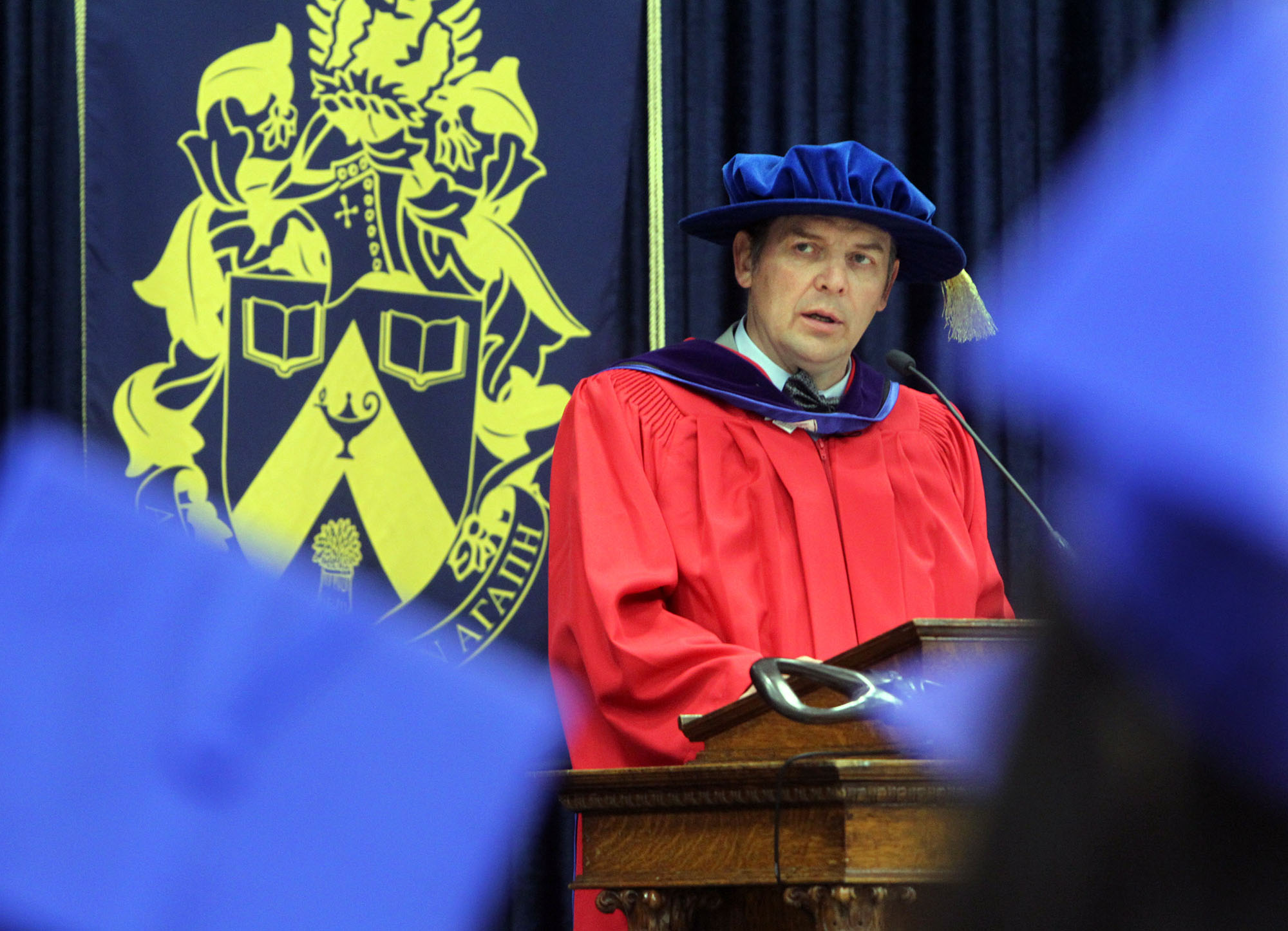 Theo Fleury, pictured during morning convocation exercises at Brandon University's Healthy Living Centre in 2015 where he received an honorary degree from the university.  (File/Brandon Sun)