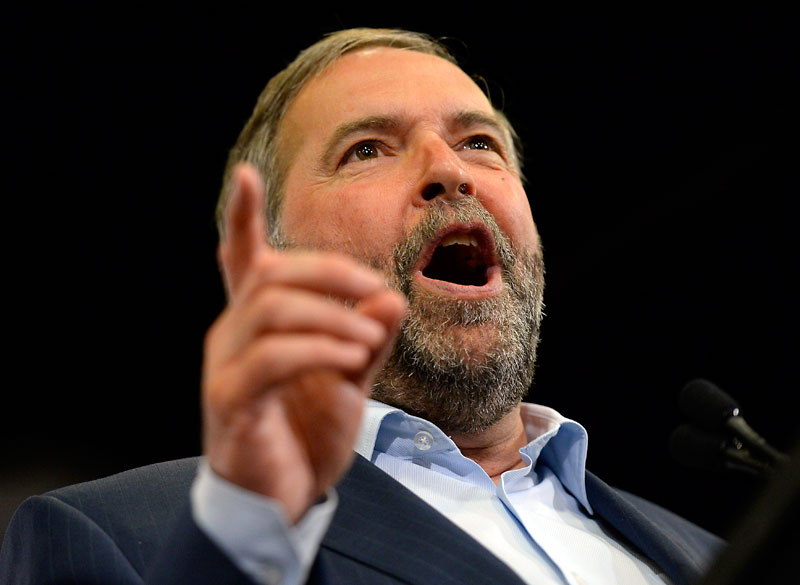 Federal NDP Leader Tom Mulcair speaks at a rally in Ottawa on Wednesday.