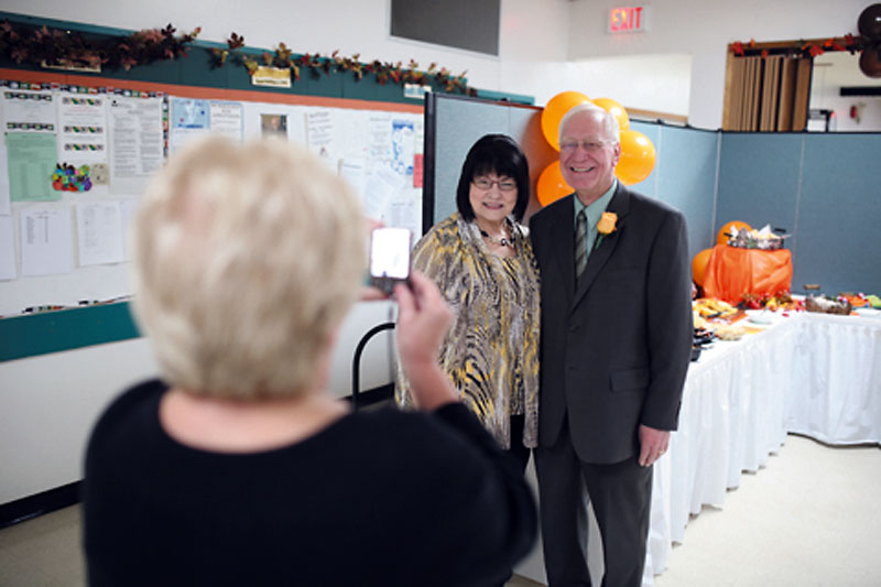 Dauphin-Swan River-Neepawa NDP candidate Laverne Lewycky and his wife Lois have their photo taken at his campaign headquarters in Dauphin while waiting for results to be announced.