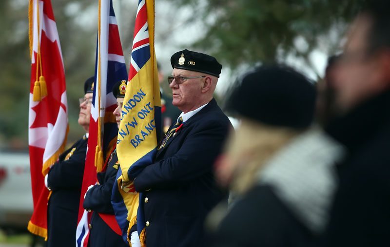 Royal Canadian Legion representatives take part in the No Stone Left Alone ceremony on Thursday at the Brandon Cemetery to honour the sacrifices made by local soldiers.
