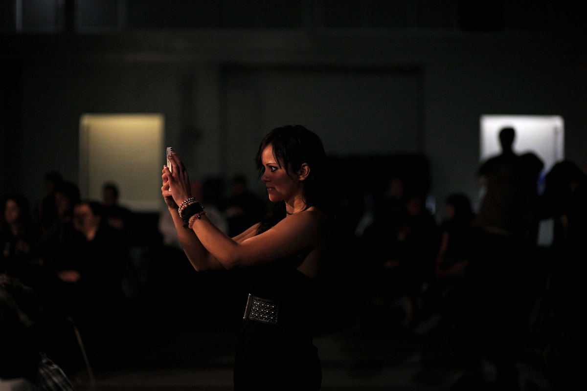 Shanelle Ziprick takes a video of the boxers during a bout.  (Tim Smith/Brandon Sun)