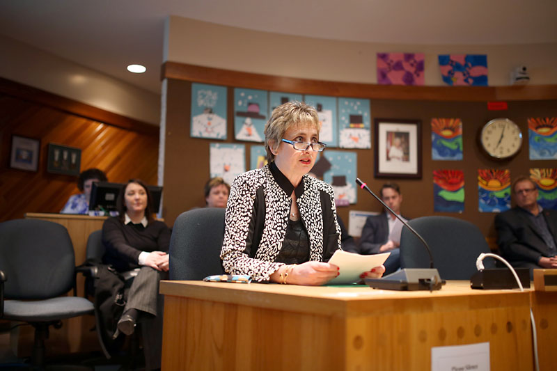 Brandon Teachers' Association president Alison Johnston speaks during a special meeting of the Brandon School Division board of trustees earlier this year.