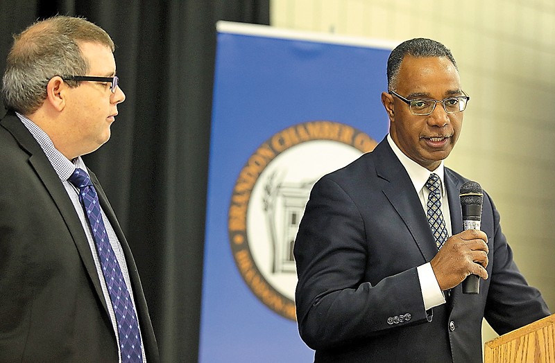 Assiniboine Community College President Mark Frison and Brandon University President Gervan Fearon announced the creation of a joint school of business between the two post-secondary institution during a Brandon Chamber of Commerce luncheon held in November.