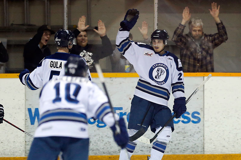 Steinbach Pistons' Bradley Schoonbaert celebrates his goal against the Portage Terriers on Sunday.