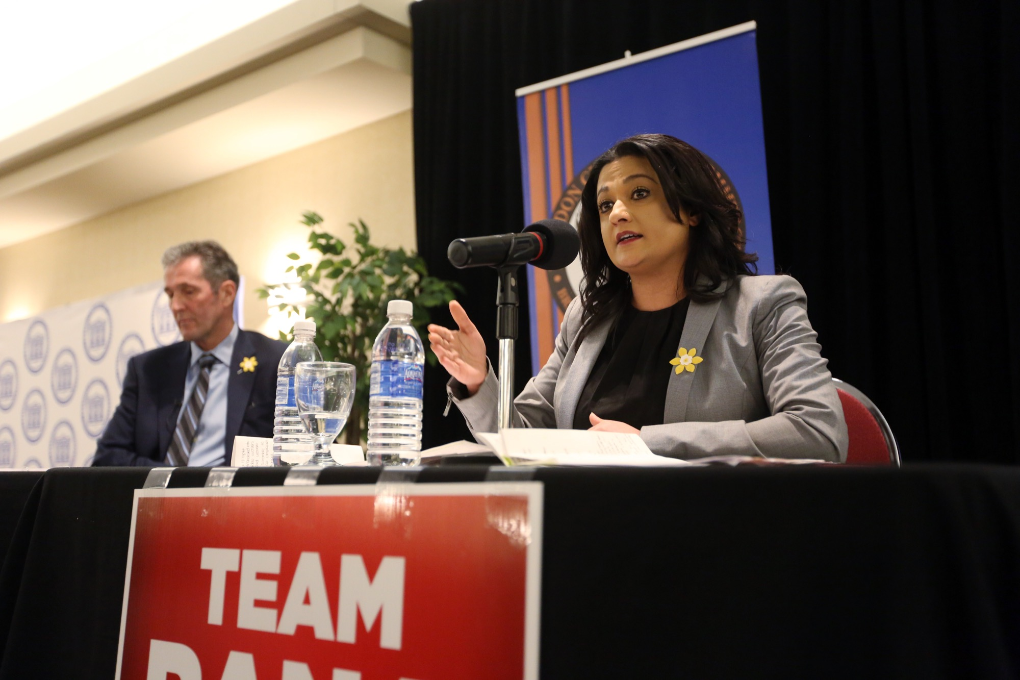 Manitoba Liberal Leader Rana Bokhari speaks at a Brandon Chamber of Commerce debate during the provincial election campaign in April. Bokhari has stepped down as Liberal leader.