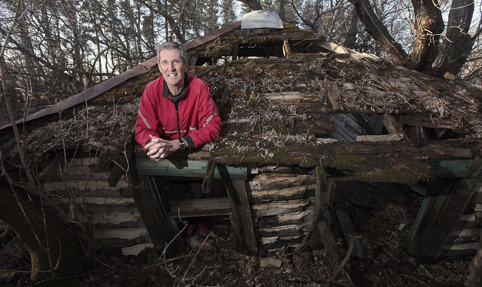 PHIL HOSSACK / WINNIPEG FREE PRESS</p><p>Pallister jokes around at the old bunkhouse built by his grandfather at the family homestead.</p></p>